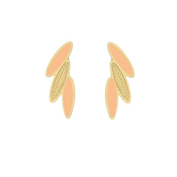Boucles Ara Nude en forme de plumes de la créatrice Laeti Trema. En vente dans la bijouterie PoissonPlume
