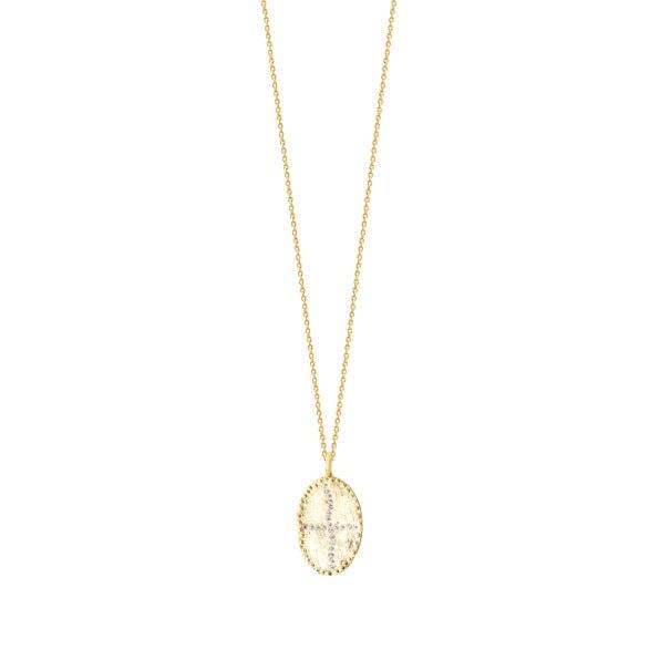 Collier médaille Bazile white, de la créatrice Louise Hendricks. En vente chez Poisson Plume.