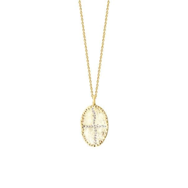 Zoom sur le Collier médaille Bazile Chite, de la créatrice Louise Hendricks. En vente chez Poisson Plume.