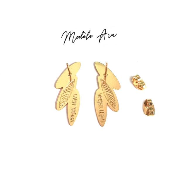 Boucles d'oreilles laeti trema, collection Amazonia Ara. En vente chez Poisson Plume. Vue de dos.