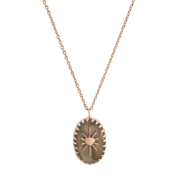 Collier Amulet pierre naturelle labrodrite. Une création Alexiane Bijoux chez Poisson Plume