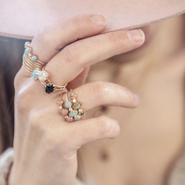 Collection de bagues mimi trio en pierres naturelles