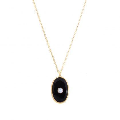 Collier pendentif pierre naturelle onyx chez poisson plume bijoux