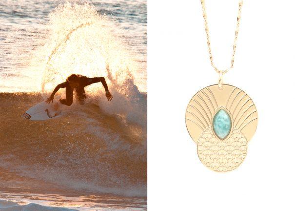 Poisson plume présente un Collier bohème doré à l'or fin et amazonite