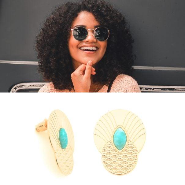 Boucles d'oreilles de créatrice nommées honolulu, en vente chez poissonplume bijoux
