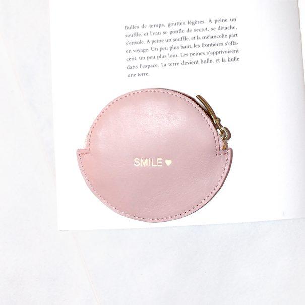 Porte-monnaie SMILE rose poudré chez Poisson Plume