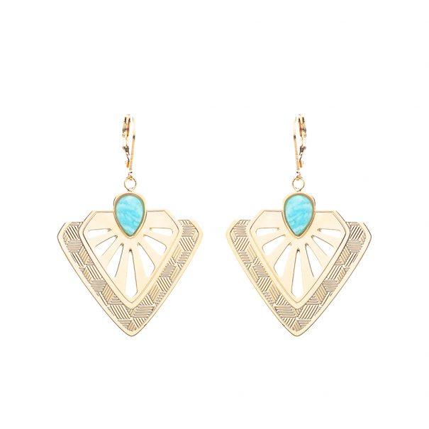 Boucles d'oreilles tamara amazonite de la créatrice Aurelié Joliff. Chez Poisson Plume bijoux