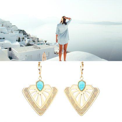 Boucles d'oreilles pendantes tamara amazonite de la créatrice Aurelié Joliff. Chez Poisson Plume bijoux