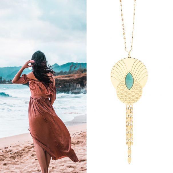 Sautoir doré à l'or fin et Amazonite, nommé Honolulu. Un bijou de créateur chez Poisson Plume bijoux.