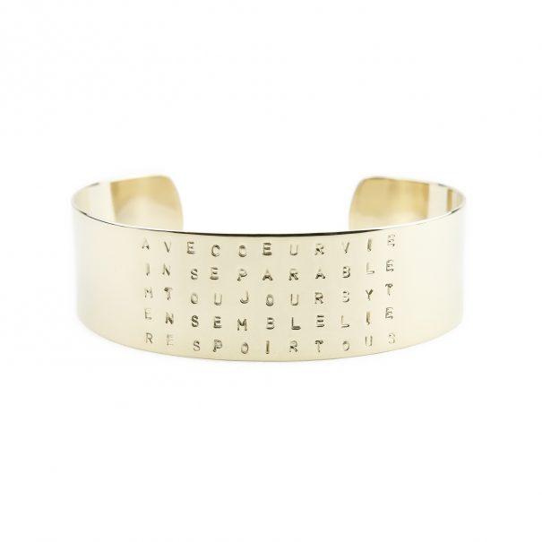 """bracelet personnalisé, gravé """"ensemble"""". Chez poisson Plume bijoux"""