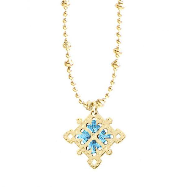 Collier médaille - Une couleurbleue en exclusivité pour Poisson Plume bijoux