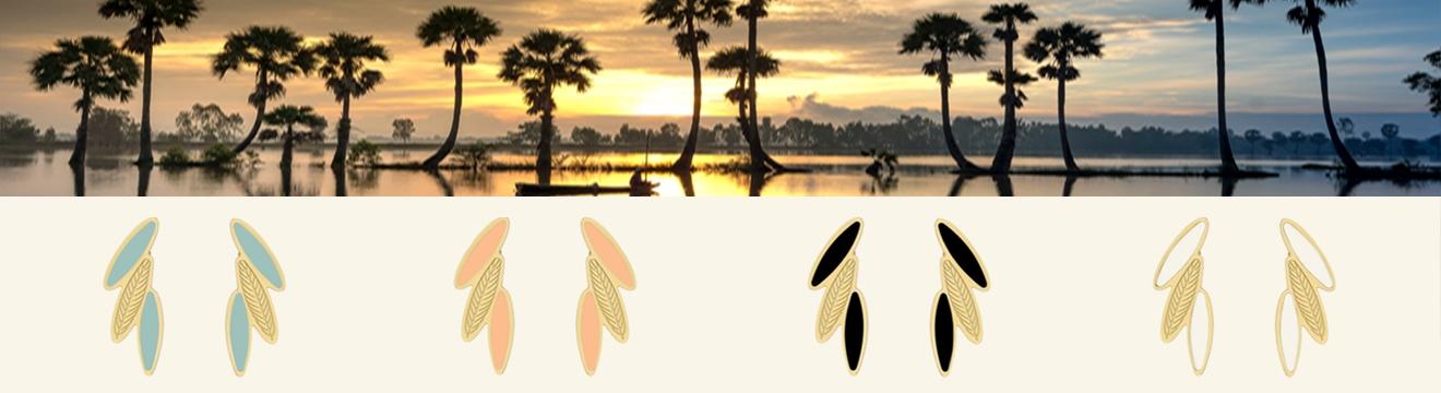 Collection de bijoux amazonia - boucles plumes ara chez poissonplume bijoux