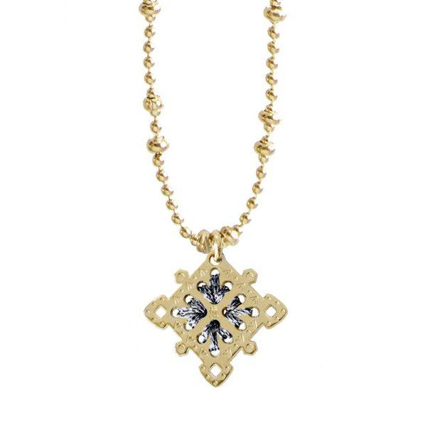 Collier médaille de créateur gris argenté lumineux, chez Poisson Plume bijoux