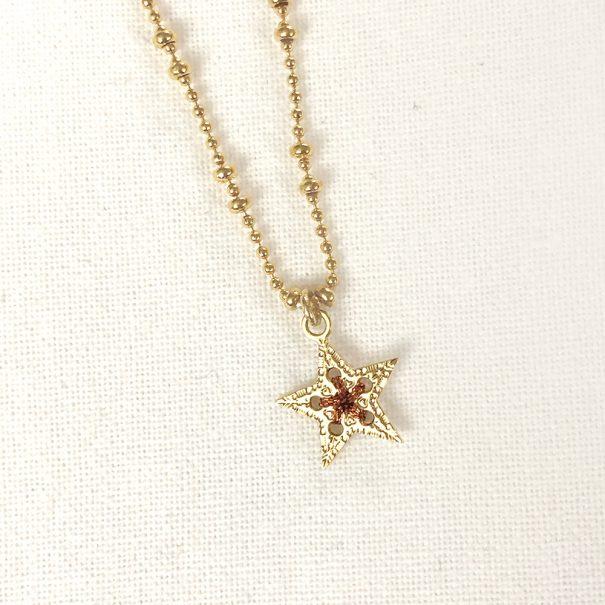 Collier médaille étoile cuivré, chez Poisson plume bijoux