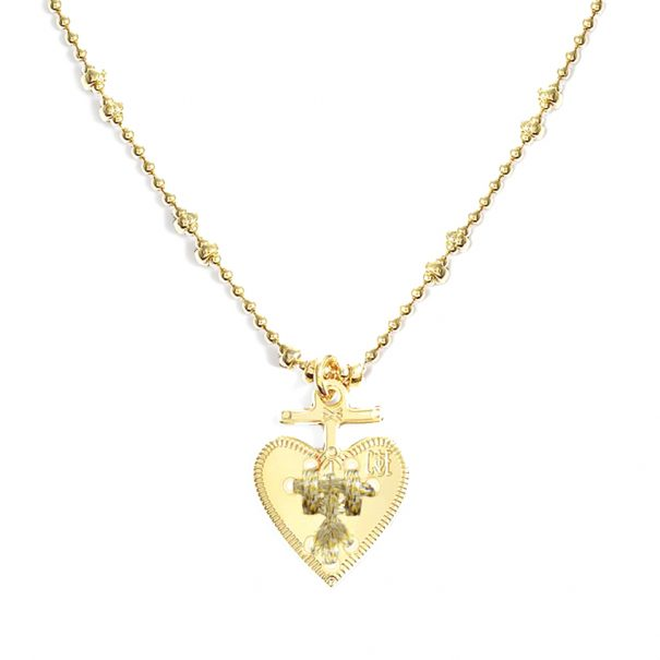 collier médaille coeur doré made in france. Un bijou de créateur fait-main chez poisson plume bijoux