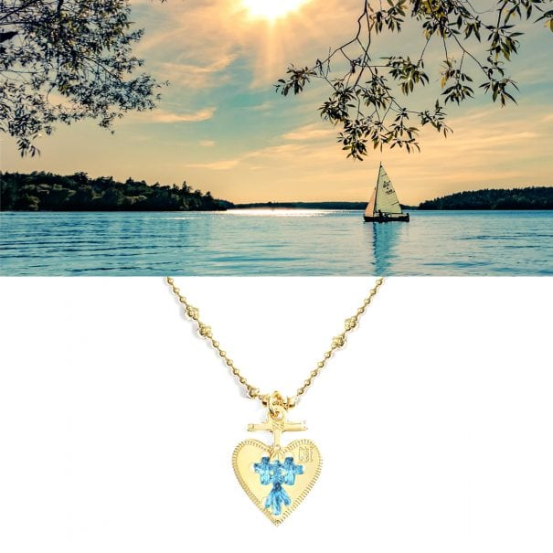 Collier coeur bleu ciel ideal. Une exclusivité poissonplume