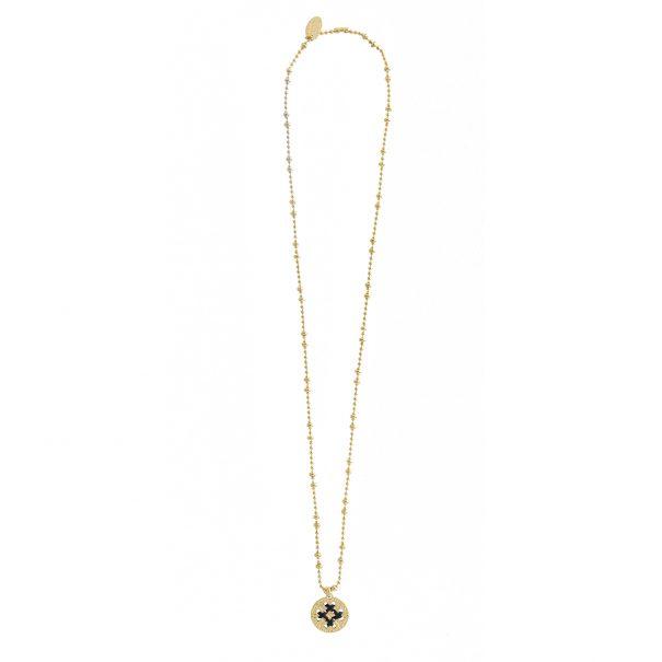Collier medaille grigri gravée et dorée à l'or fin. Un bijou ethnique chic. fait à Paris.