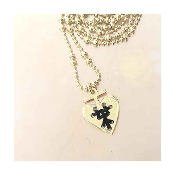 Collier coeurdore et noir chez poisson plume bijoux
