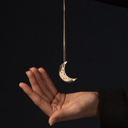 sautoir croissant de lune doré