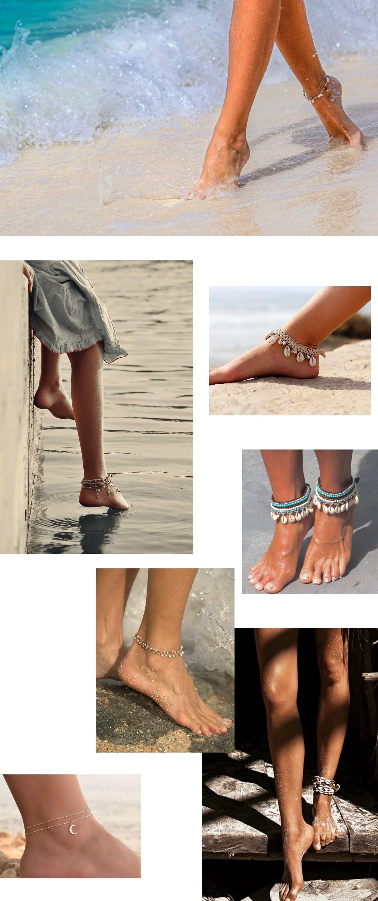 bracelets de cheville pour l'été : exemples