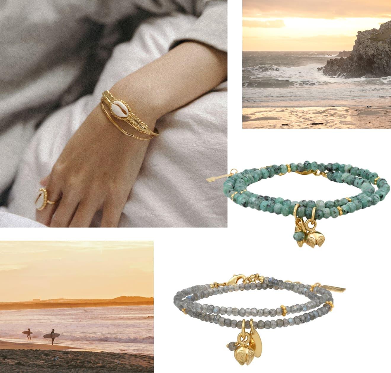 Bracelets été coquillage et pierres fines