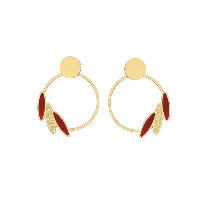 petites créoles de créateur, dorées et rouges