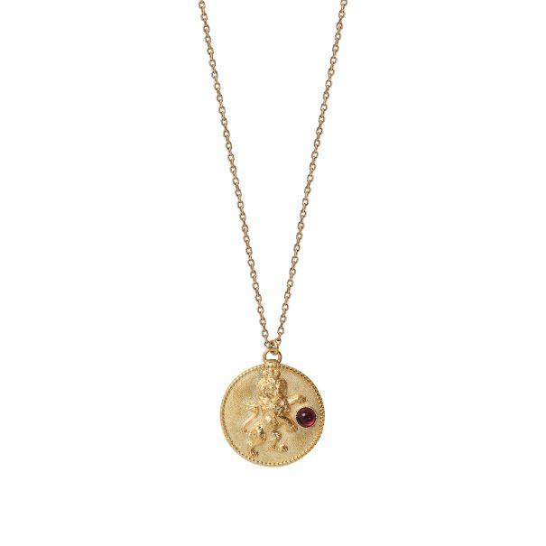 Collier médaille lion grenat Dear Charlotte Paris