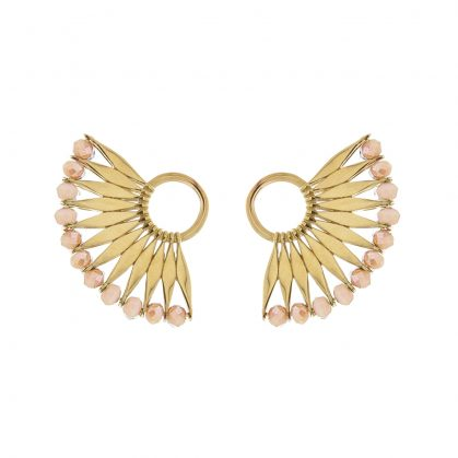 boucles contours d'oreilles plumes awa nude rose