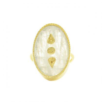 Bague Lana Pierre de Lune Be Maad chez Poisson Plume bijoux