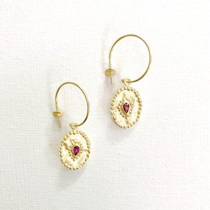 Boucles pendantes ovales Verine pierre fine rhodolite chez poisson plume bijoux