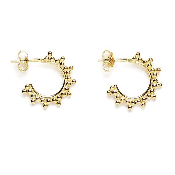 petites créoles perlées dorées créateur Agnes de Verneuil
