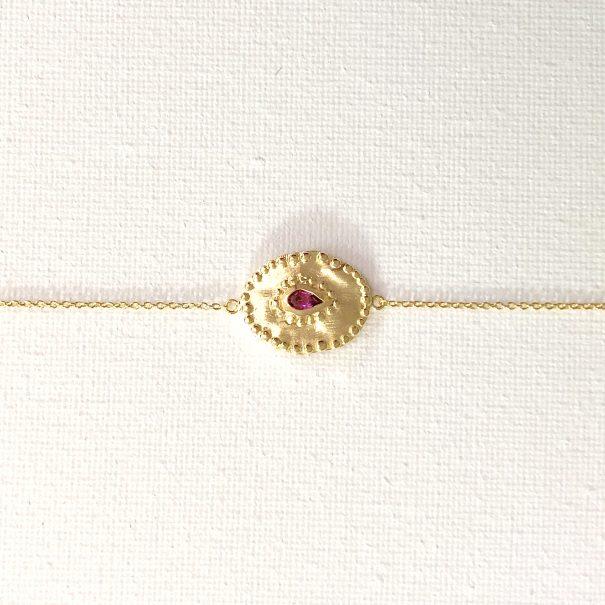 Bracelet de créateur médaille ovale Vrine Rhodolite chez poisson plume bijoux