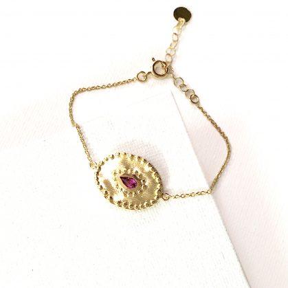 Bracelet médaille ovale Vrine Rhodolite chez poisson plume bijoux