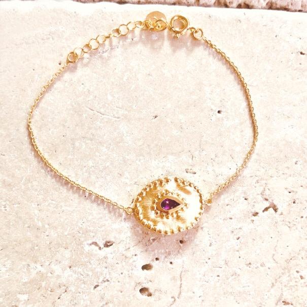 Bracelet verine médaille ovale louise hendricks chez poisson plume bijoux