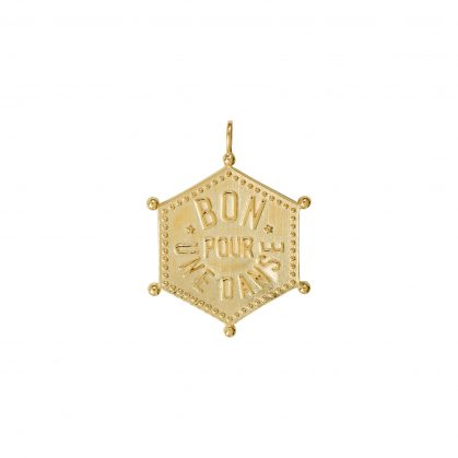 Pendentif hexagonal dance with me en plaque or