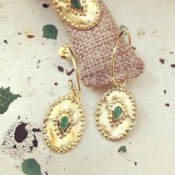 boucles d'oreilles médailles ovales verine emeraude - Louise hendricks chez poisson plume bijoux