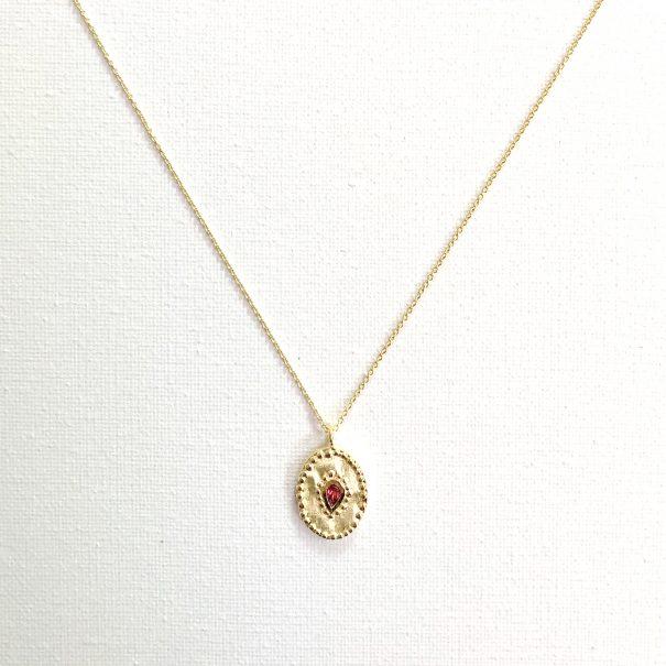 Collier de créateur medaille ovale rhodolite Verine - Louise hendricks chez Poisson Plume bijoux