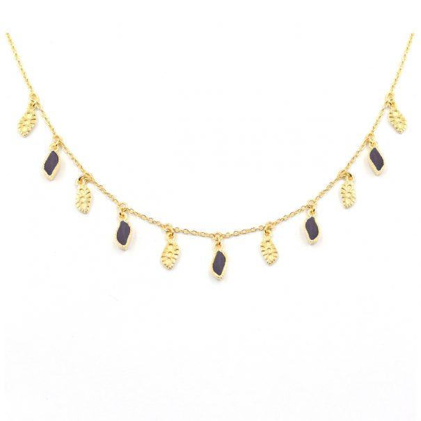 Collier pampilles Mali pierres onyx noir texturé