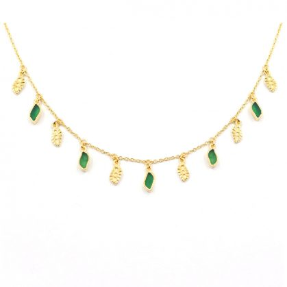Collier pampilles Mali pierres onyx vert