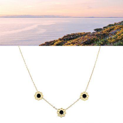 collier coachella agate noire chez poisson plume bijoux