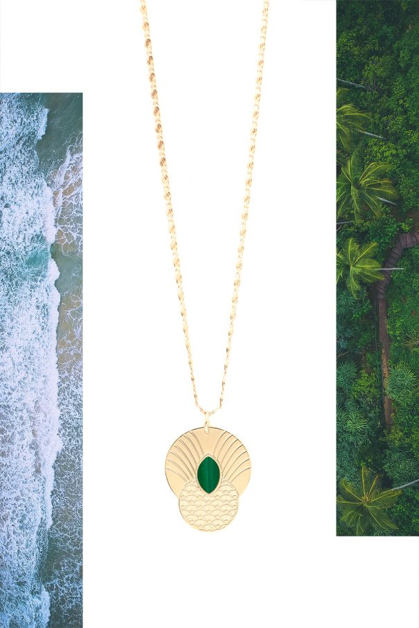 Collier malachite boheme honolulu par aurelie joliff. Fait main en France.