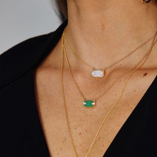 colliers sangha onyx vert et nacre