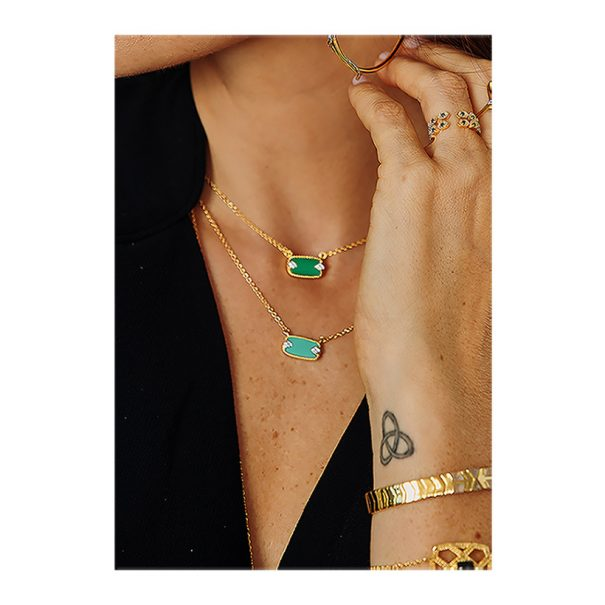 Collier sangha pierre naturelle turquoise et onyx vert