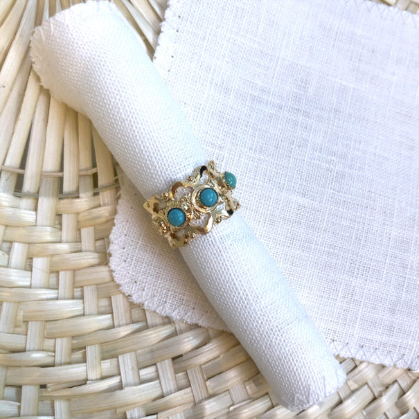 Bague narcisse turquoise
