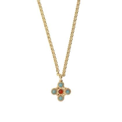 collier croix quartz bleu amallyis dear charlotte chez poisson plume