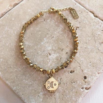 bracelet médaille lune chandra poisson plume