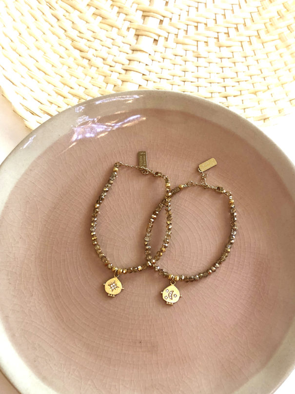 bracelets medailles lune et etoile
