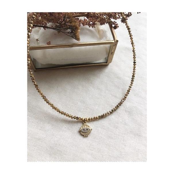 collier quartz médaille lyncée doré