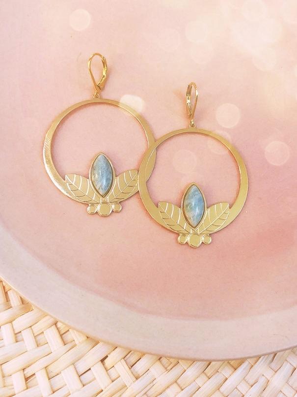 boucles alice amazonite poisson plume bijoux