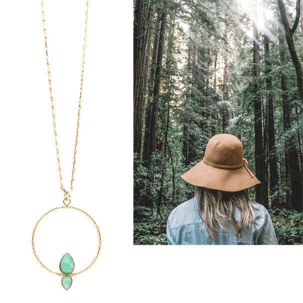 Collier sous-bois cercle amazonite aurelie joliff chez poissonplume bijoux